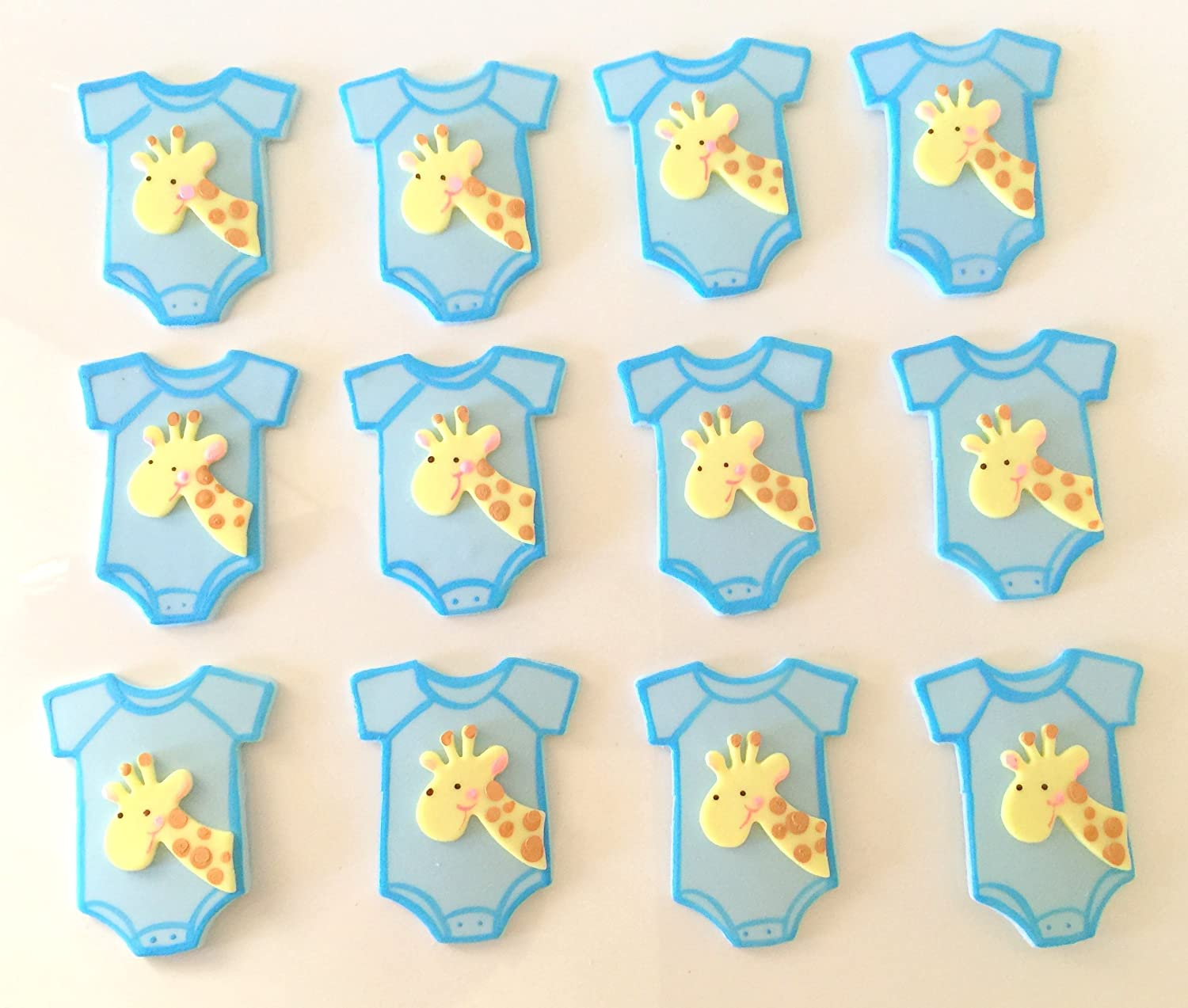 Edible cupcake decorations baby shower - 12 Baby Shower Bib Giraffe Decorations For Boys These Pieces Are Made Out Of Cold Porcelain And Can Be Used For Many Projects Party Favors Cupcake Toppers