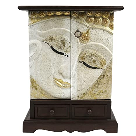 Buddha Schrank Thailand Kommode Akazie Holz Massiv 70 cm Asien Weiß Gold