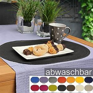 sander BISTRO FOLIO 6 Tischsets abwaschbar 35x50cm oval in 14 Farben hellbeige/vanille(18)    Kritiken und weitere Infos