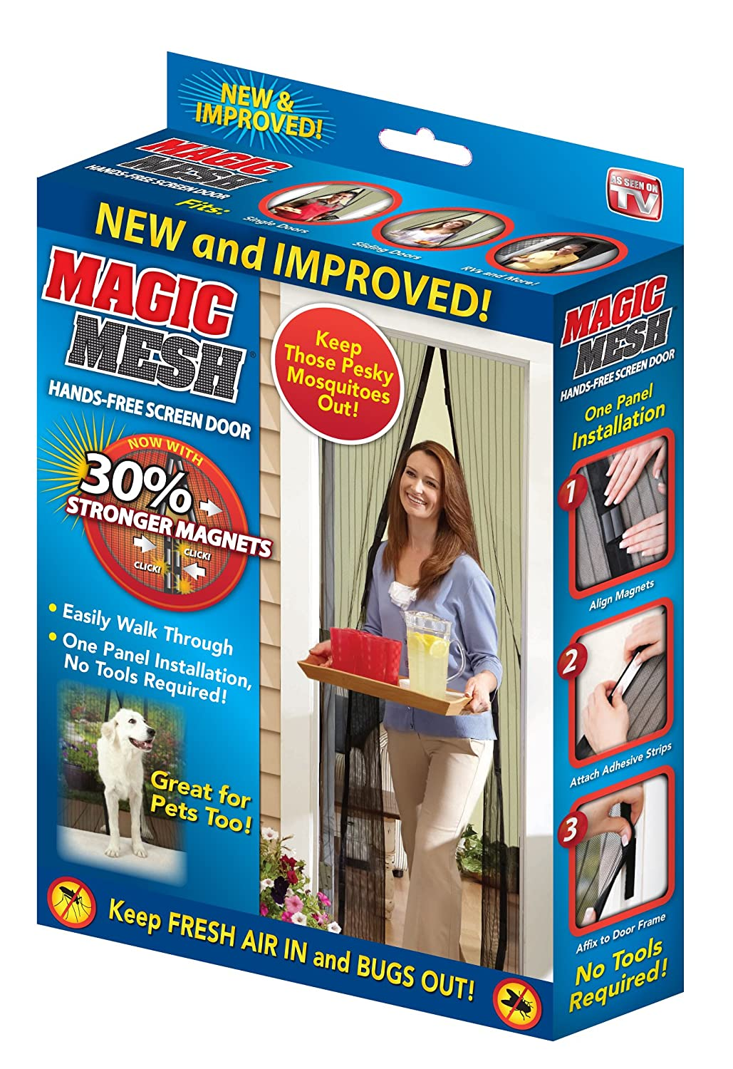 Magic Mesh The New & Improved 30% Stronger Hands Free Magnet Screen Door To Help Block Mosquitoes & Bugs (Official As Seen ON TV)