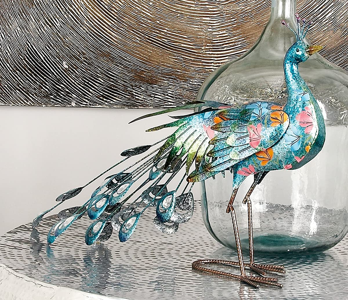"Deco 79 Metal Peacock Sculpture, 31""W/20""H"