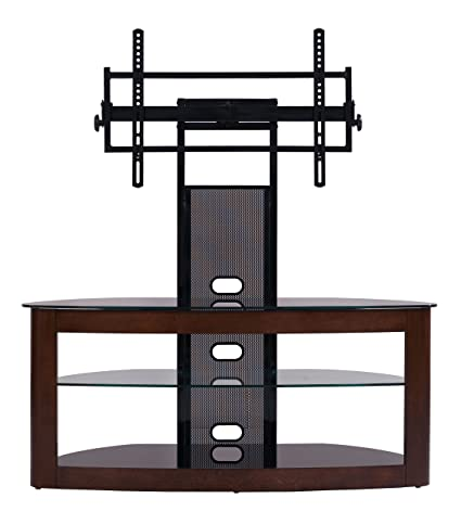 TransDeco Int'l Corp TD600DB TV Stand with Universal Mounting System, Dark Oak/Black