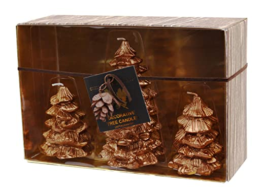 Novelty Copper Metallic 3-Piece Pine Tree Holiday Candle Gift Set by Chesapeake Bay Candle