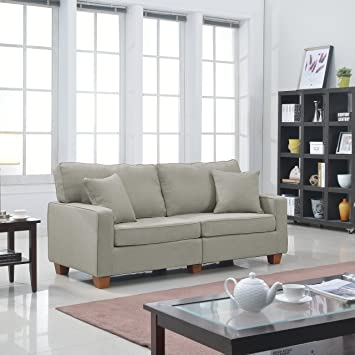 Modern 82-inch Linen Fabric Sofa with Matching Accent Pillows - Color Beige, Brown, Light Grey, Dark Grey (Beige)