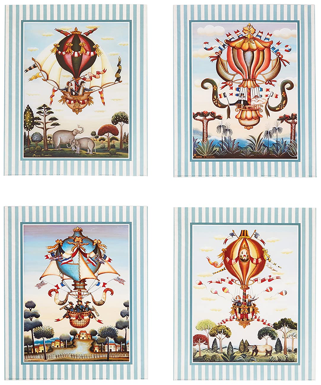 Set of 4 Vintage Hot Air Balloon Circus Elephant Art Prints Posters 11x14 Inches Bedroom Home Decor Great for Framing! 0