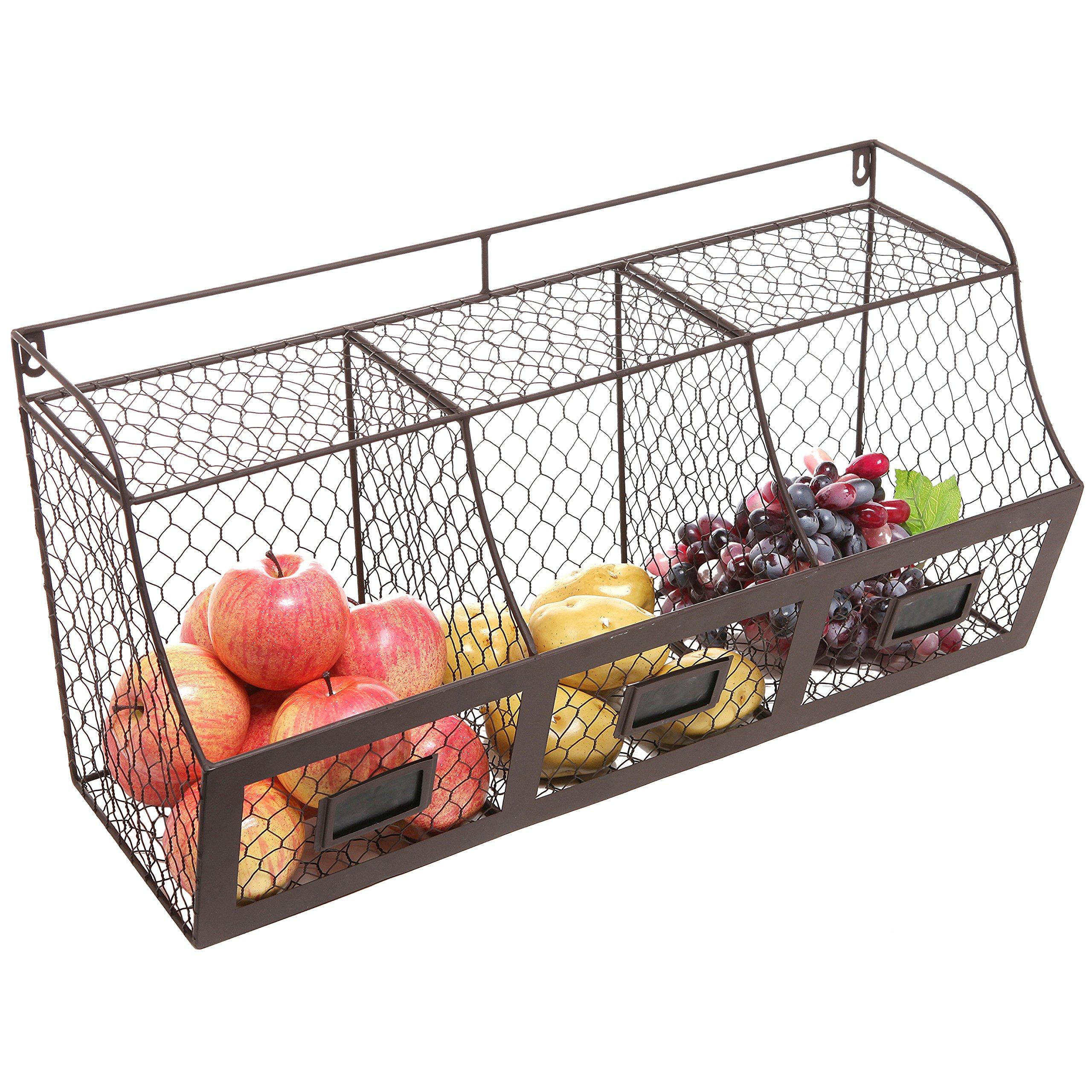 Rangement Fruits Et Légumes: Large Rustic Brown Metal Wire Wall Mounted Hanging Fruit