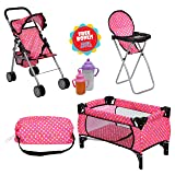 Exquisite Buggy Doll Play Set 3 in 1 Doll Set, 1 Pack N Play. 2 Doll Stroller 3.Doll High Chair. Fits Up to 18'' Doll with 2 Free Magic Bottles Included