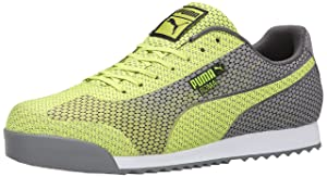 PUMA Men's Roma Woven Mesh Lace-Up Fashion Sneaker, Lime Punch/Steel Gray, 11 M US
