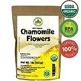 Chamomile Tea 1LB (16Oz) 100% CERTIFIED Organic (USDA seal) Chamomile Flowers Herbal Tea (Matricaria Chamomilla) in 1 lb Bulk Kraft BPA free Resealable Bags from U.S. Wellness (Tamaño: 1 lb)