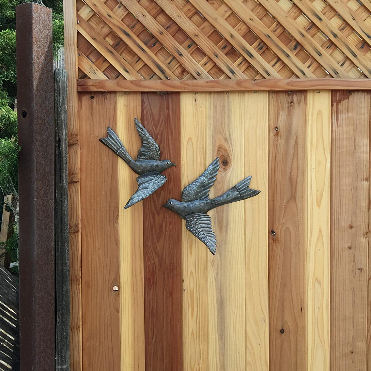 "Haitian Birds Recycled Steel Drum Art 3-d Wings 11"" x 13"" (Set of 2)"