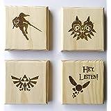 Legend of Zelda inspired permanent engraved gift set of 4 wood coasters (By Brindle Designs): Link, Navi, Majora, Triforce (Color: Wood)