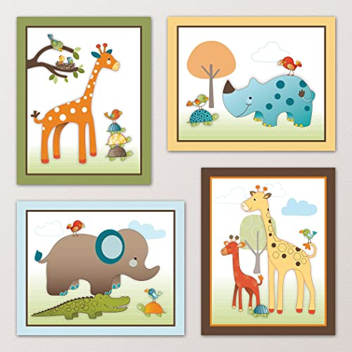 Giraffe Safari Jungle Animals Nursery Wall Art Decor. Kids Bedroom Decor (11x14 (4) Set of Four)