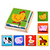 Premium Barnyard Animal Block Puzzle (6 in 1) with Wood Storage Tray for Preschool Age Toddlers 3, 4 - Colorful Solid Wooden Small Cube Farm Animal Pieces - Horse, Pig, Cow, Sheep, Duck, Chicken