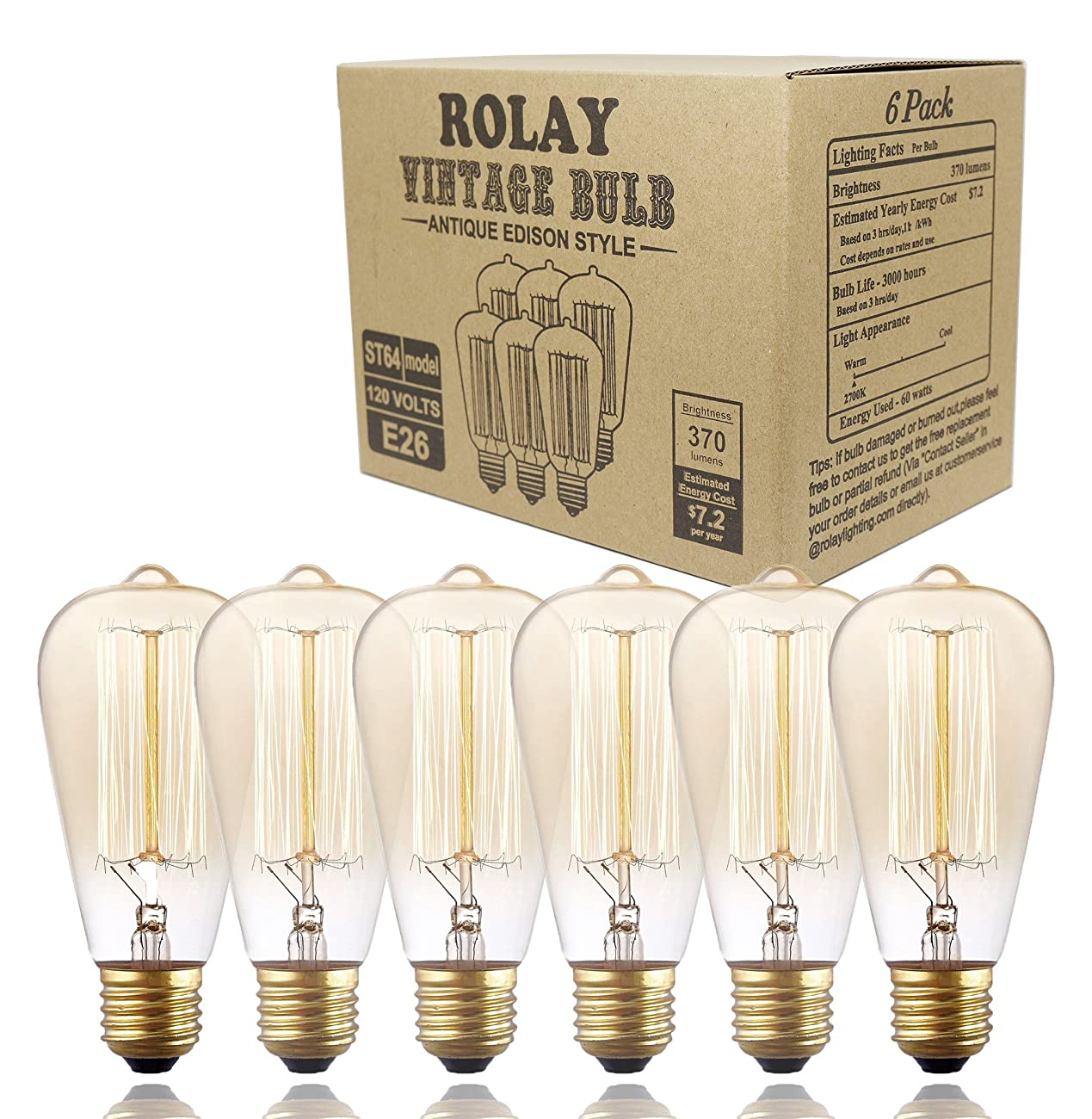 Edison Bulbs, Rolay 60w Dimmable Industrial Pendant Filament Light Bulbs with Vintage Antique Style Design for Pendant Lighting, Wall Sconces, Ceiling Fan and Chandeliers - 370 Lumens - 6 Pack 0