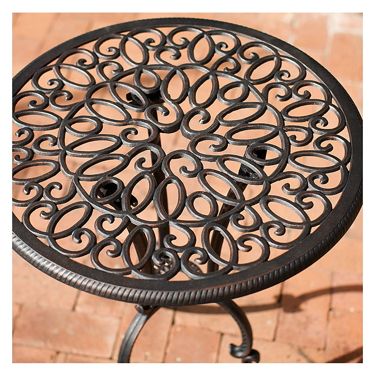 French Ironwork Cast Aluminum Outdoor Patio 3 Piece Bistro Set in Antique Copper Finish - 2 Chairs and 1 Table 2