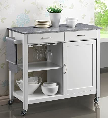 Harrogate White Painted Hevea Hardwood Kitchen Trolley Island With Grey Granite Top Large Island Cart 105cms