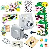 Fujifilm Instax Mini 9 Instant Camera SMOKEY WHITE w/ Fujifilm Instax Mini 9 Instant Films (60 Pack) + A14 Pc Deluxe Bundle For Fujifilm Instax Mini 9 Camera (Color: Smokey White)