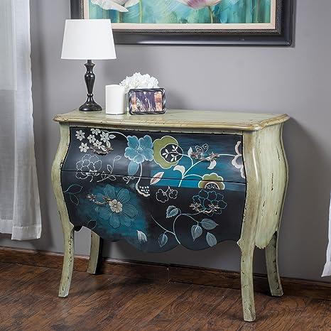 Rosemarie Antique Green Dark Blue 2 Drawer Cabinet