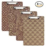 Emraw Hard Wood Clipboard Standard Size Assorted Pattern Clipboards Flat Hanging Hardboard Set with Low Profile Clip for School, Office, Work, Home, Hospital - 4 Pack