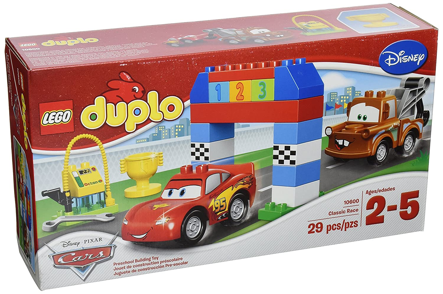 This racing car set allows boys to build a fueling station for Lightning McQueen and Mater.