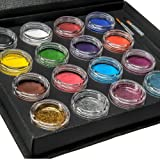 Bo Buggles Professional Face Paint Kit + 50 Stencils. Water-Activated XL Face Painting Palette. Loved By Pro Painters For Vibrant Detailed Designs. 12x10 gram Paints, 4x10ml Glitters, 2 Brushes. (Color: 16 Multicolor)
