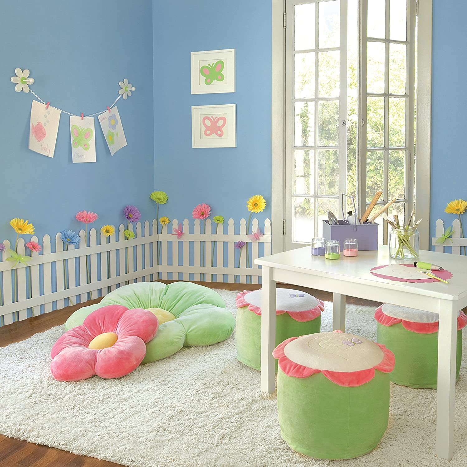 White wooden picket fences for kids room wall border What do we call a picture painted on a wall
