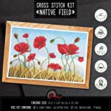 Native Fields Embroidery Kit with Poppy Flowers Counted Cross-Stitching Pattern (Color: Native Fields)
