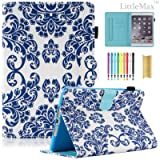 iPad Mini 2 3 Case - LittleMax(TM) PU Leather Stand Case Smart Flip Folio Wallet Case Cover with Auto Wake/Sleep for iPad Mini 1/2/3 [Free Cleaning Cloth,Stylus Pen]-03 Cobalt Blue Folk Flower (Color: 03 Cobalt Blue Folk Flower, Tamaño: Mini 1/2/3-7.9 Inch (Not For Mini 4))