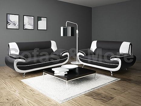 Lewis - Coppia di divani in ecopelle, 3+2 posti, colori: Bianco/Nero
