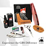 GBS Ultimate Shape and Style Beard Growth Grooming Kit - Beard Oil, Brush, Barber Scissors,Template comb, Beard Comb, Straight Edge Shavette Razor, Mustache Comb + Blades Makes a Great Gift For Men