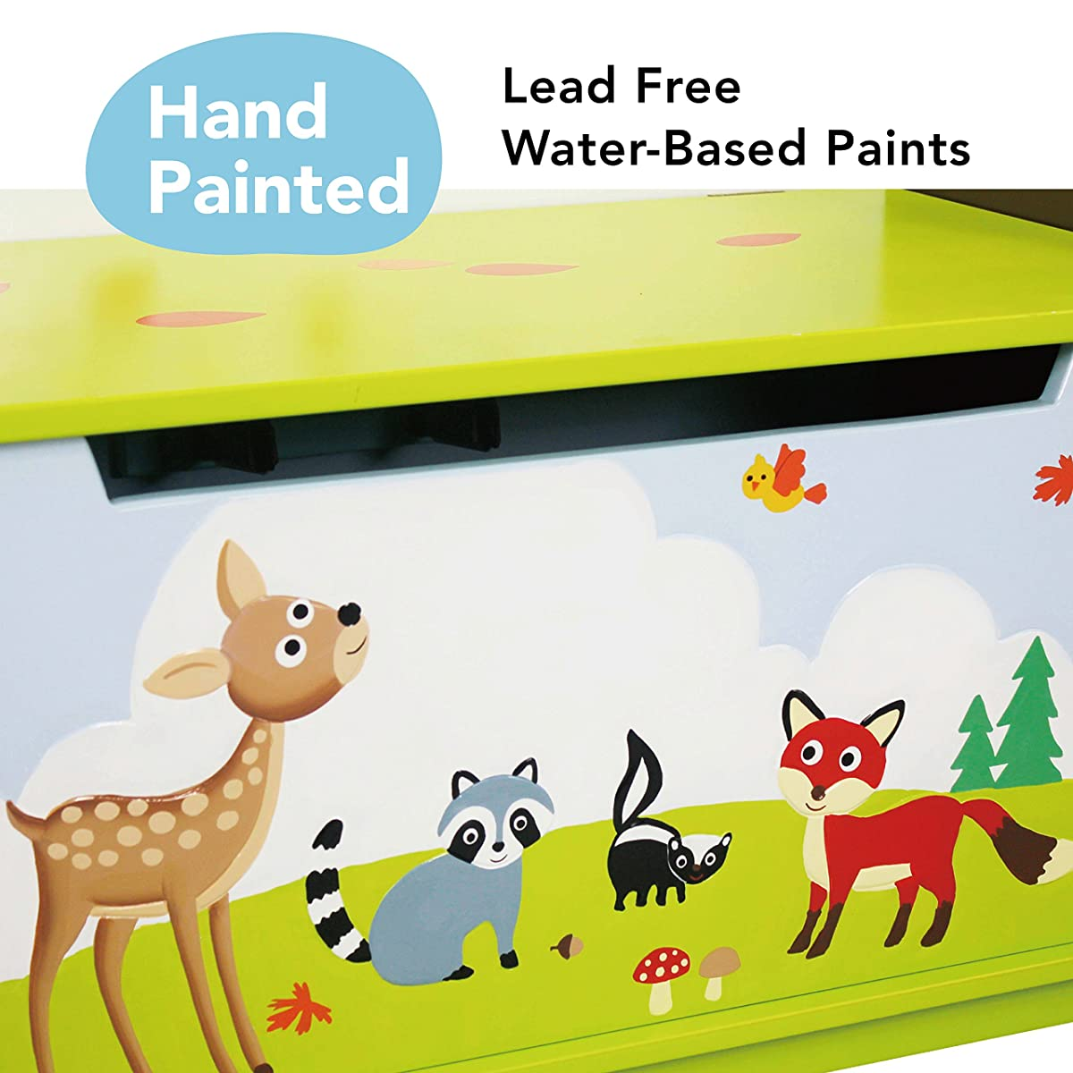 Fantasy Fields - Enchanted Woodland Thematic Kids Wooden Toy Chest with Safety Hinges | Imagination Inspiring Hand Crafted & Hand Painted Details | Non-Toxic, Lead Free Water-based Paint