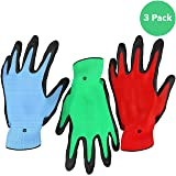 Vremi Heavy Duty Gardening Gloves for Men and Women - 3 Pack Medium Size Bamboo Nitrile Coated Indoor and Outdoor Garden Gloves for Vegetable Roses or Flower Gardens - Blue Green and Red (Color: Multicolor, Tamaño: Medium)
