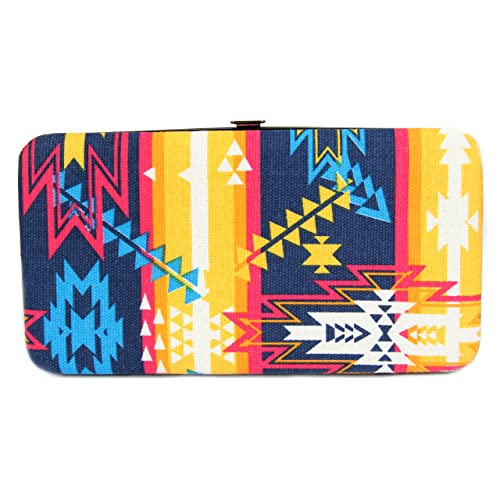 DealMagik Clutch Wallet Purse Women Aztec Pattern Yellow/Purple/Blue