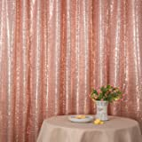 PartyDelight Not See-Through Sequin Backdrop 4FTX6.5Ft Rose Pink for Wedding Curtain, Party, Photo Booth. (Color: Rose Pink, Tamaño: 4X6.5)