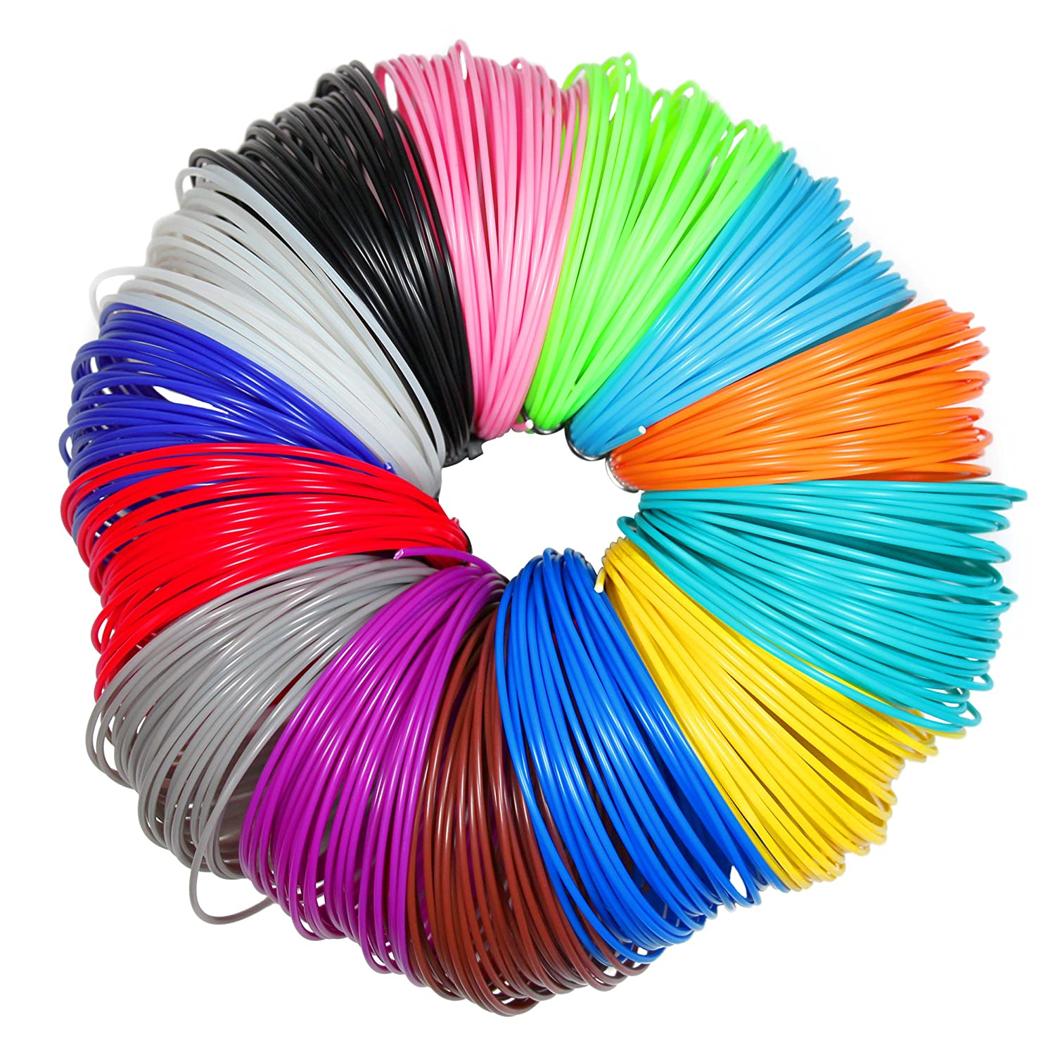 3D Pen Filament Refills - 1.75mm ABS 280 Linear Feet (20 foot each) Total 14 Different colors fun pack. 4 Glow In The Dark Colors & 175 FREE Stencils eBook Included
