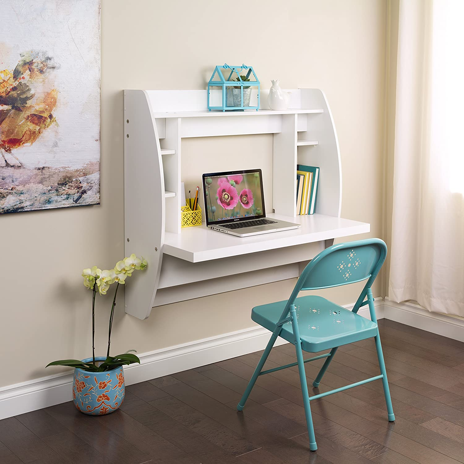 prepac white floating desk storage