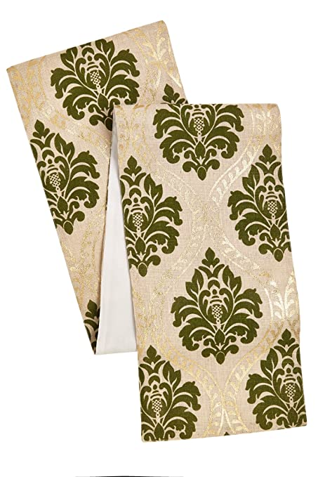 Gold and Green Jute Damask Table Runner with a Gold Foil Metallic Print by Cotton Craft