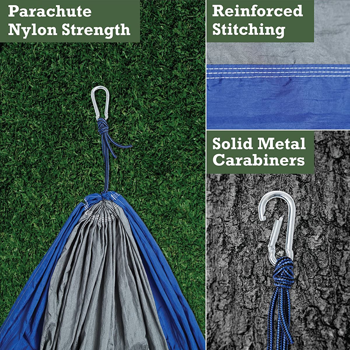 ELEMENTEX Portable Parachute Nylon Travel Camping Backpacking Hammock - Choose Your Size/Color