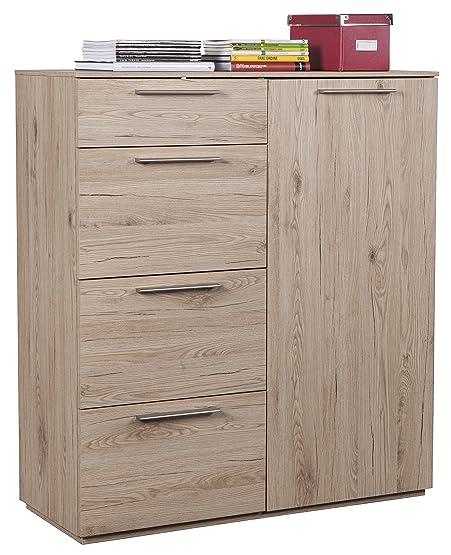 Base soggiorno con quattro cassetti e anta più mensole regolabili color rovere naturale con finitura vero legno