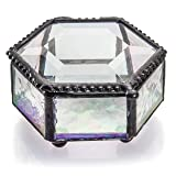 J Devlin Box 621-3 Hexagon Clear Glass Jewelry Box Keepsake Gift Decorative Trinket Ring Box Case (Color: Clear Iridescent, Tamaño: 3 x 3 x 1 1/2)