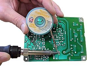 MG Chemicals Desoldering Braid #3 No Clean Super Wick Desoldering Braid, 0.075 Width x 50' Length, Green (Color: Green, Tamaño: 50' Length)