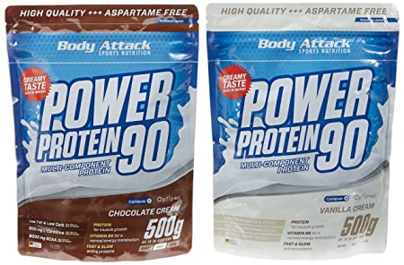 Body Attack Power Protein 90 Beutel 2er Mix Pack (2 x 500 g) Schoko/Vanille, 1er Pack (1 x 1 kg)