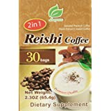 Reishi Coffee 2 in 1, Selected Premium Coffee, Reishi Extract and Instant Coffee, 30 Bags Per Box (Color: Brown, Tamaño: 30ct)