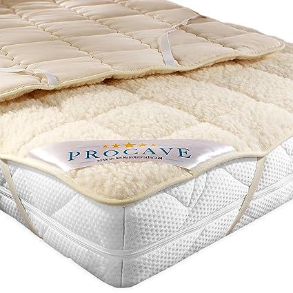 PROCAVE, protezione per materassi in vello d'agnello, con angoli elastici, Cotone, Beige, 180 x 200 cm