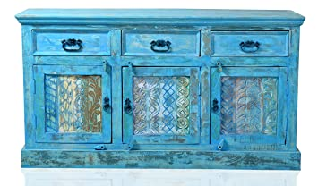 """Sit-Möbel 1203-13 cómoda """"Blue"""", auténtica madera, piel, 3 puertas, 3 cajones, cada 1 suelo detrás de las puertas de, 140 x 40 x 80 cm"""