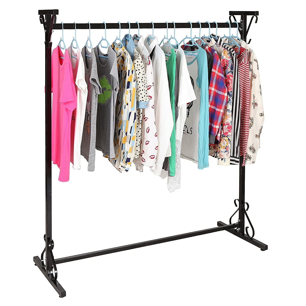 Professional 4-Ft Long Victorian Scrollwork Vintage Black Iron Clothing Hanger / Garment Rack - MyGift® 0
