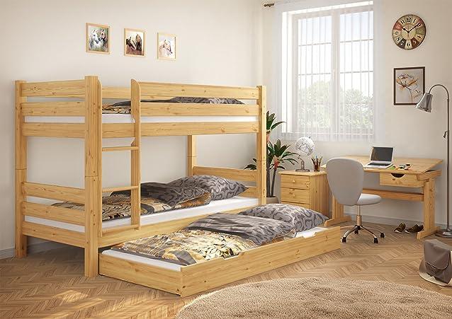 60.11-09 070 M S7M letto di castello 90x200 in legno di pino con assi di legno, materassi e cassettiera