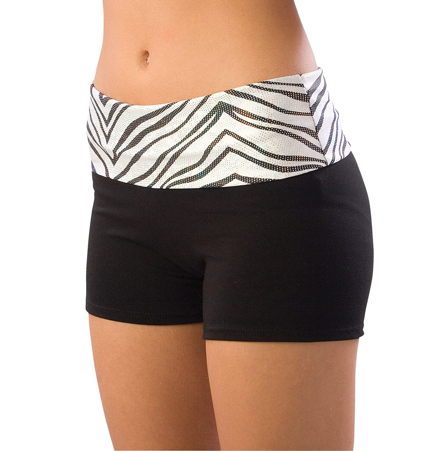 Adult Roll-Down Waist Shorts, AXL, BLK/RED
