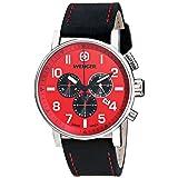 Wenger Men's 01.1243.103 Commando Chrono Analog Display Swiss Quartz Black Watch (Color: red)