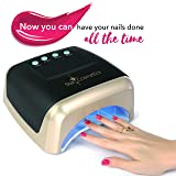 Star Cosmetics, 60W LED UV Lamp, Professional For Nail Gel Polish, For Fingernail & Toenails, Auto Sensor 15.30.60.90 Timer Setting, Speicial Black & Gold Design, Free Gift With Purchase (Color: Black)